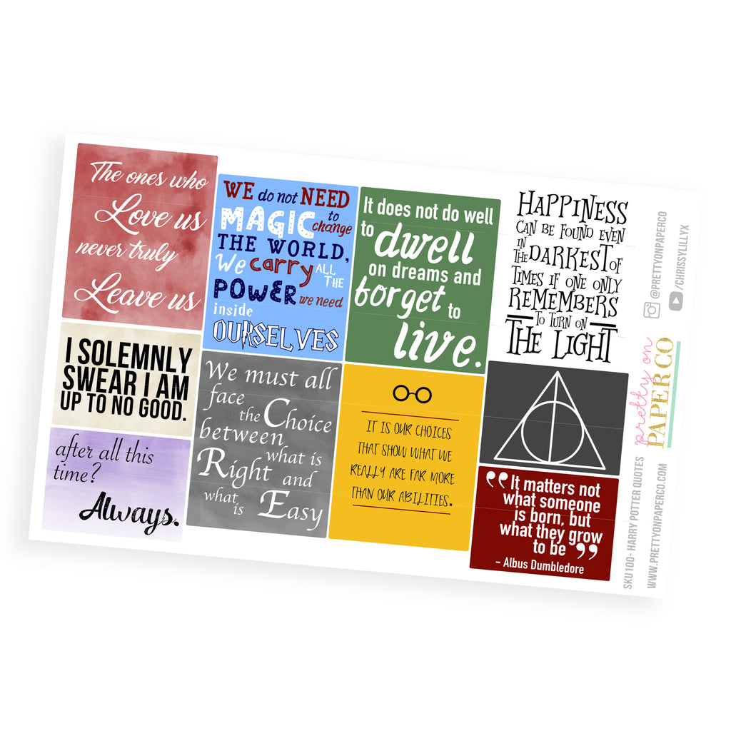 Harry Potter Quote Boxes - Planner Stickers