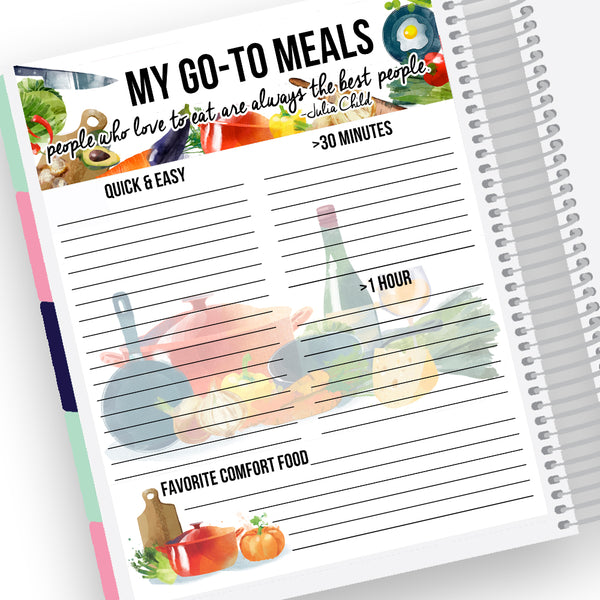 Favorite Meals Notes Page Kit