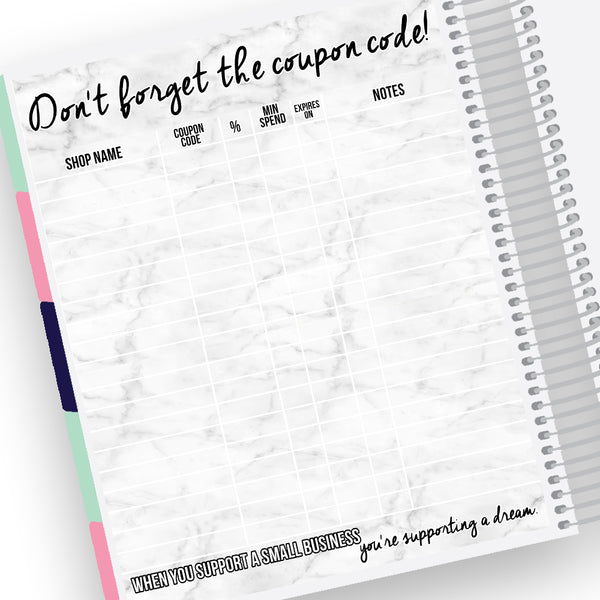 Coupon Code Tracker Notes Page Kit