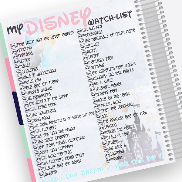 disney watch list notes page kit pretty on paper co