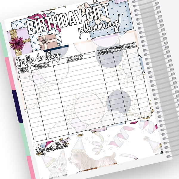 Birthday Gift Planning Notes Page Kit