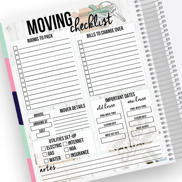 Moving Checklist Notes Page Kit