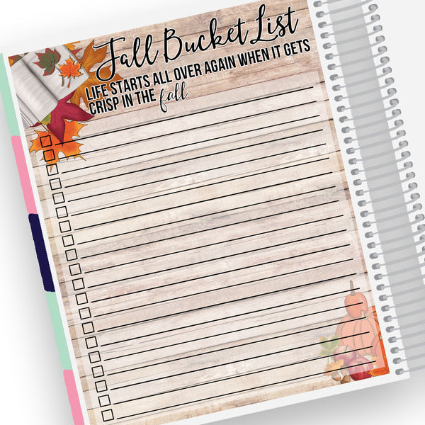 Fall Bucket List Notes Page Kit