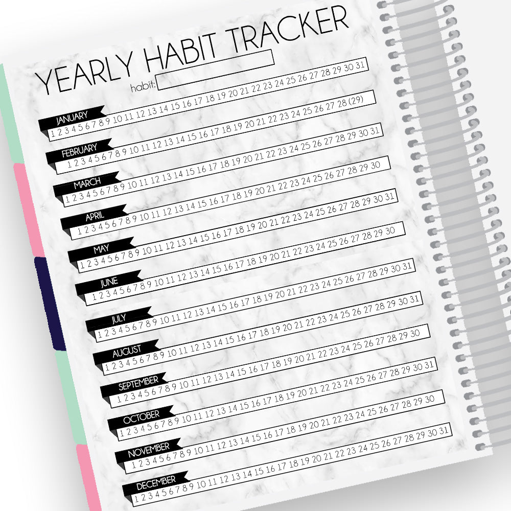 Yearly Habit Tracker Notes Page Kit
