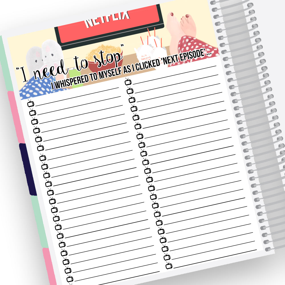 TV Tracker Notes Pages Kit