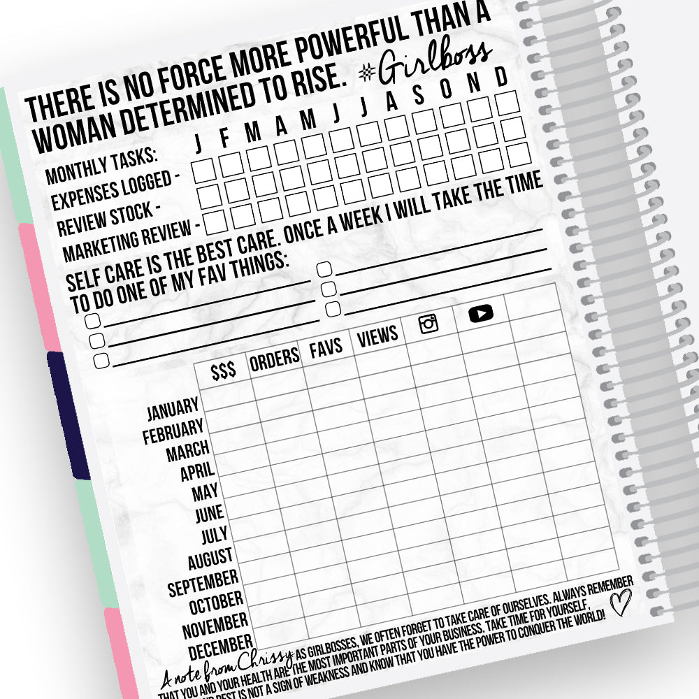Shop Owner Yearly Tracker Notes Page Kit