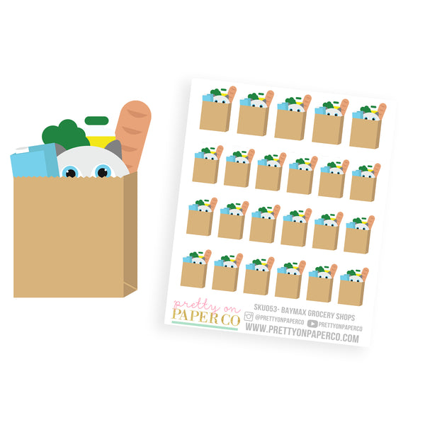 Baymax Goes Grocery Shopping - Planner Stickers