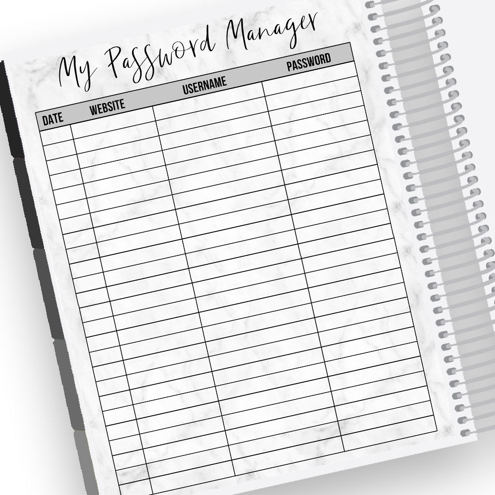 Password Manager Notes Page Kit