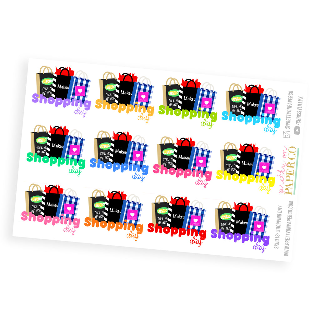 Shopping Day Stickers - Planner Stickers (SKU013)