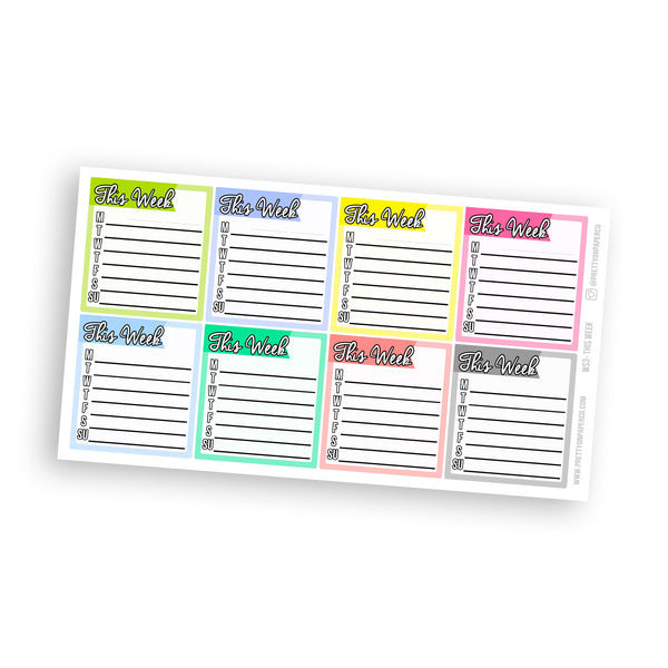 This Week (Monday - Sunday) Sidebar Stickers