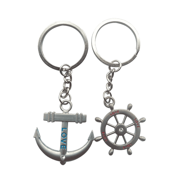 4EVER Romantic Stainless Alloy Metal Silver Nautical Steering Wheel Anchor & Love Boat Rudder Helm Couple Keychain