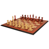 The Chess Store Royal Staunton Wood Chess Set African Padauk & Boxwood Chess Pieces with Padauk & Bird's Eye Maple Molded Chess Board