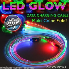 1M LED GLOW FADE USB DATA SYNC CHARGER CABLE LEAD FOR iPHONE 4 4S iPod iPad 1 2 - Bunjey