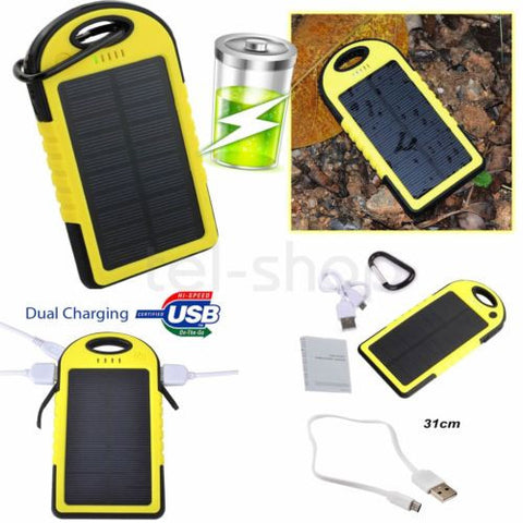 5000mAh Solar Power Bank Dual USB Waterproof Battery Cable Charger IPhone Uk - Bunjey