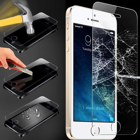100% GENUINE TEMPERED GLASS FILM SCREEN PROTECTOR for APPLE IPHONE 5 5S UK NEW - Bunjey