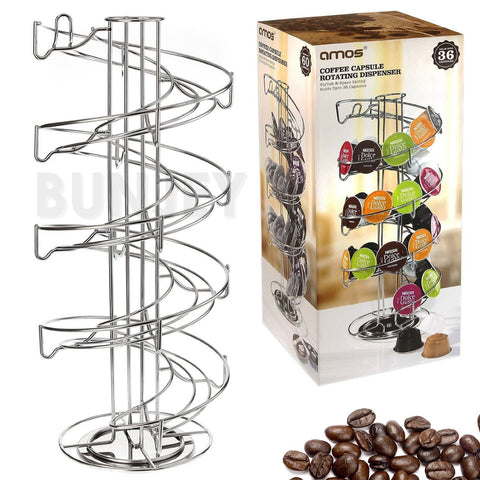 Nespresso Tassimo Dolce Gusto Coffee Pod Capsule Holder Spiral Stand Tower - Bunjey