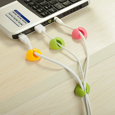 Cable Drop Clip Desk Tidy Organiser Wire Cord USB Lead Wire Tidy Colourful - Bunjey