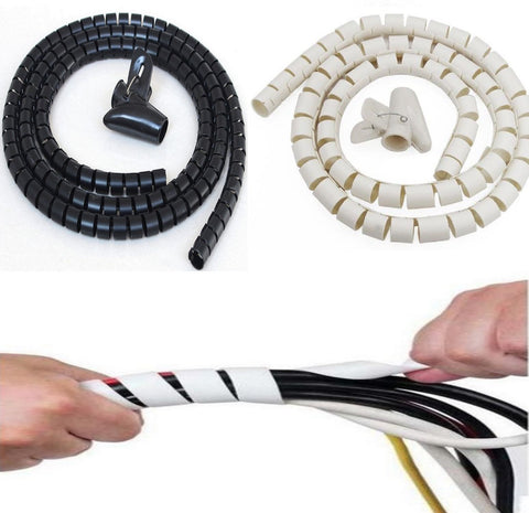 Cable Tidy Kit for Wires from PC TV Home Office Spiral Wrap - White or Black 2M Length - Bunjey