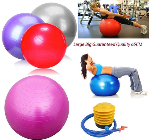 Anti Burst Yoga Swiss Ball 65cm Exercise GYM Fitness Pregnancy Birthing + PUMP - Bunjey