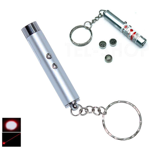 RED 2 IN 1 WHITE LASER POINTER SUPER BRIGHT LED LIGHT KEYRING LAZER KEY RING - Bunjey