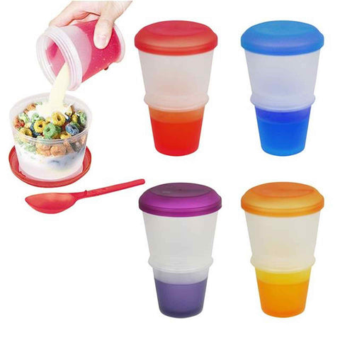 Cereal To Go Milk Breakfast Stay Freeze On The Go Snack Healthy Eat Meal Box - Bunjey