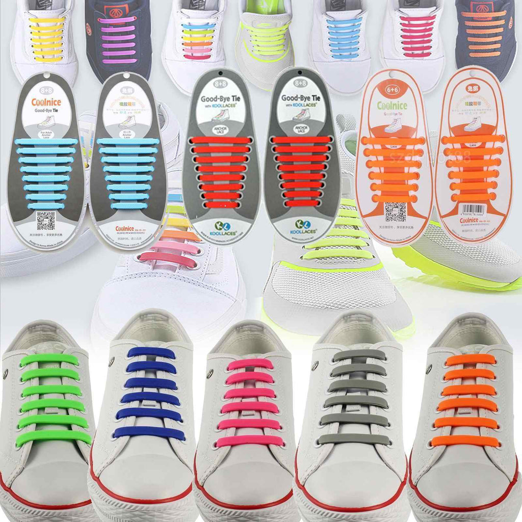 Easy No Tie Elastic Shoe Lace 100% Silicone Trainers Shoes Adult Kids Shoelaces - Bunjey
