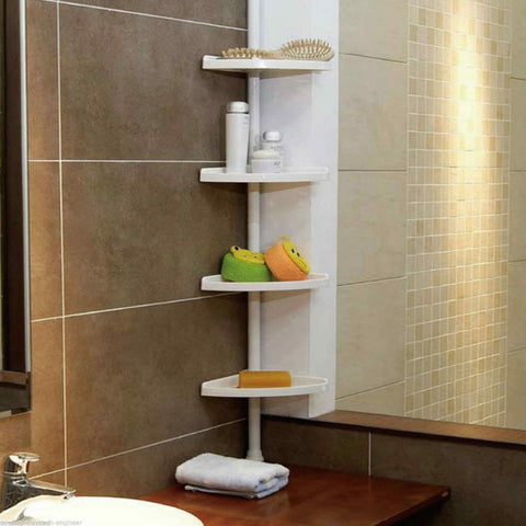 4 TIER ADJUSTABLE TELESCOPIC CORNER SHOWER BATHROOM SHELF ORGANISER CADDY - Bunjey