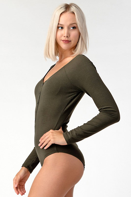 BUTTON DOWN LS BODYSUIT OLIVE