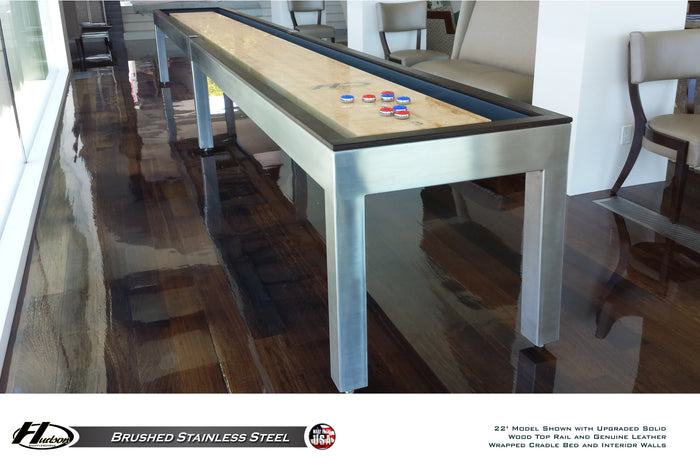 Hudson Brushed Stainless Steel Shuffleboard Table