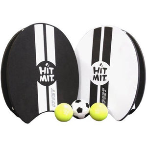 Hit Mit Sport All-Weather Waterproof Paddle Ball Glove Set, Black/White, 2ct Hit Mit paddles, 3ct Hit Mit balls, 1ct
