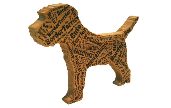 Border Terrier WordArt Freestanding Oak Piece.