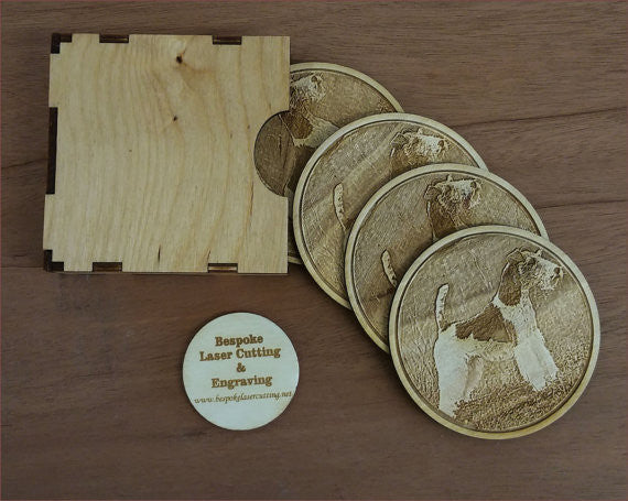 Wire Fox Terrier Coasters - Bespoke Laser Cutting And Engraving