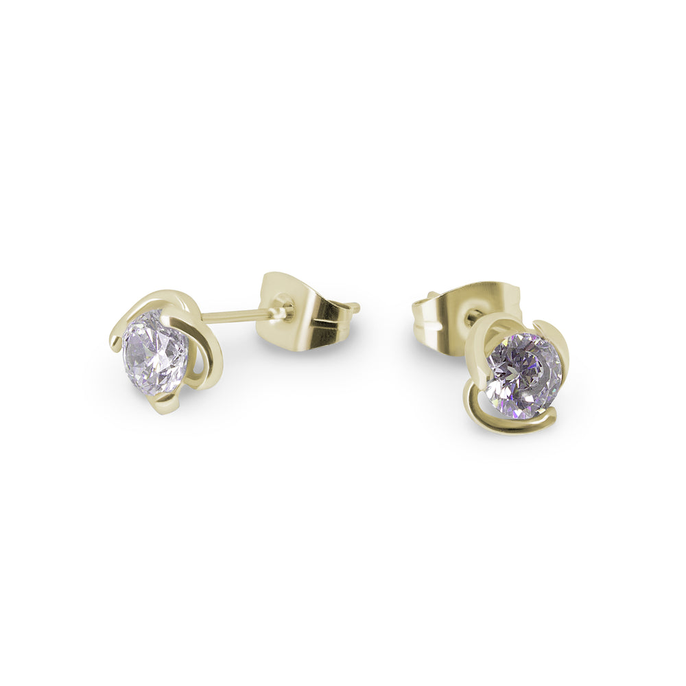 small hypoallergenic gold stud earrings with stone for girls miajwl