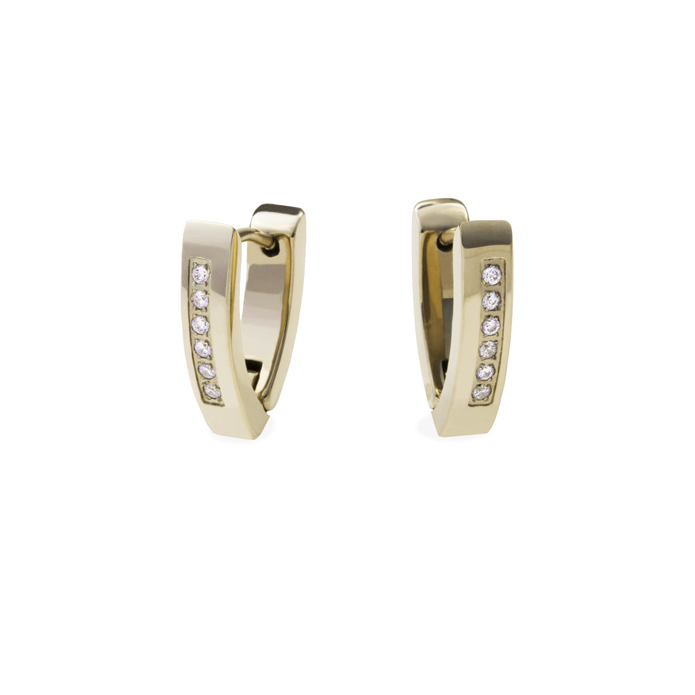 modern huggie earrings stainless steel gold