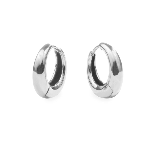 Small silver puffy hoop earrings hypoallergenic T119E003AR MIA JEWELRY