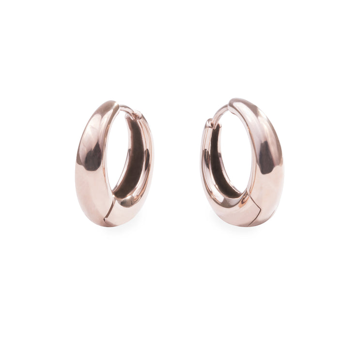 small rose gold puffy hoop earrings hypoallergenic T119E003DORO MIA JEWELRY