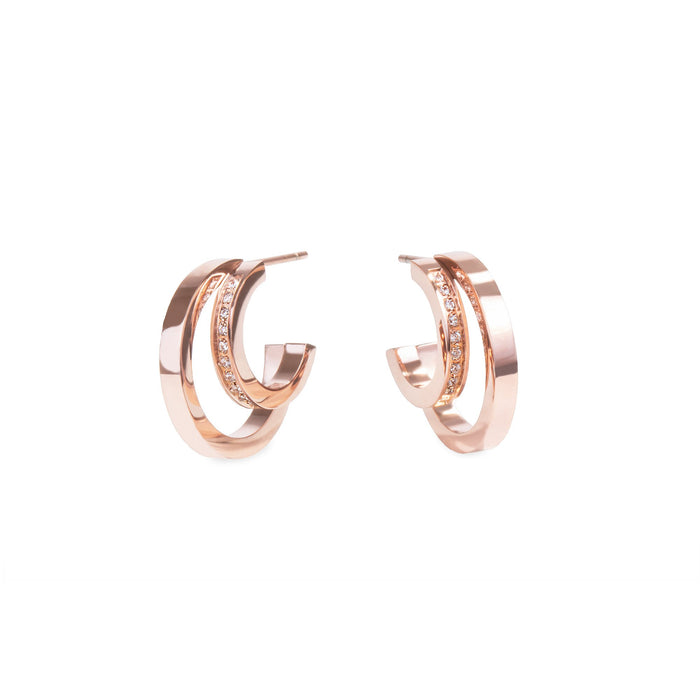 women moon crescent rose gold double hoop earrings stones stainless steel mia jewelry boucles d'oreilles femme croissant de lune anneau double or rose pierres acier innoxydable mia bijoux T120E001DORO