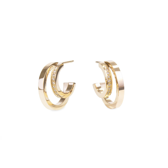 women moon crescent double hoop stones gold earrings stainless steel mia jewelry boucles d'oreilles croissant de lune anneau double pierres or acier innoxydable mia bijoux T120E001DO
