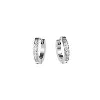 women small half eternity huggie earrings stones stainless steel hypoallergenic mia jewelry petites boucles d'oreilles femme dormeuse pierres acier inoxydable hypoallergénique T120E009AR