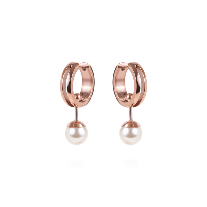 women 2-in-one convertible pearl huggie rose gold earrings stainless steel mia jewelry perle dormeuse boucles d'oreilles acier inoxydable T120E003DORO
