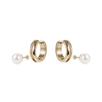 women 2-in-one pearl huggie gold earrings stainless steel mia jewelry perle dormeuse boucles d'oreilles acier inoxydable T120E003DO