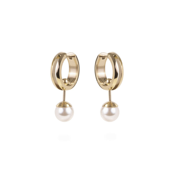 women 2-in-one convertible pearl gold huggie earrings stainless steel mia jewelry perle dormeuse or boucles d'oreilles acier inoxydable T120E003DO