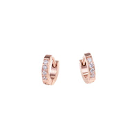 women stainless steel xs half eternity rose gold huggie earrings hypoallergenic petites boucles d'oreilles dormeuse or rose pierres acier inoxydable hypoallergénique MIA T120E009DORO