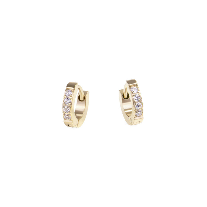 women stainless steel xs half eternity gold huggie earrings stones hypoallergenic petites boucles d'oreilles femme dormeuse or pierres acier inoxydable hypoallergénique MIA T120E009DO