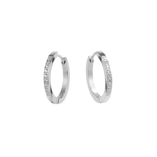 women stainless steel huggie earrings stones mia jewelry boucles oreilles anneaux pierres acier inoxydable T120E010AR