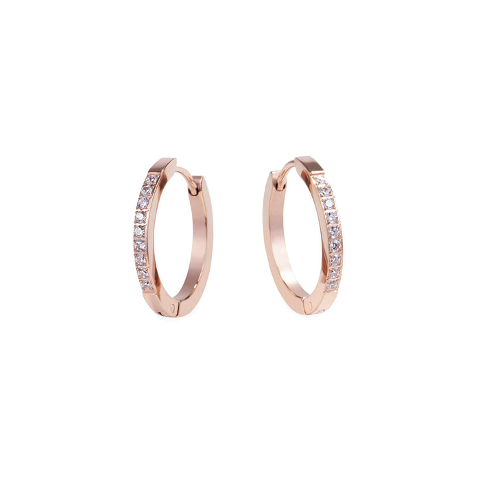 women stainless steel huggie earrings stones mia jewelry boucles oreilles anneaux pierres acier inoxydable T120E010DORO