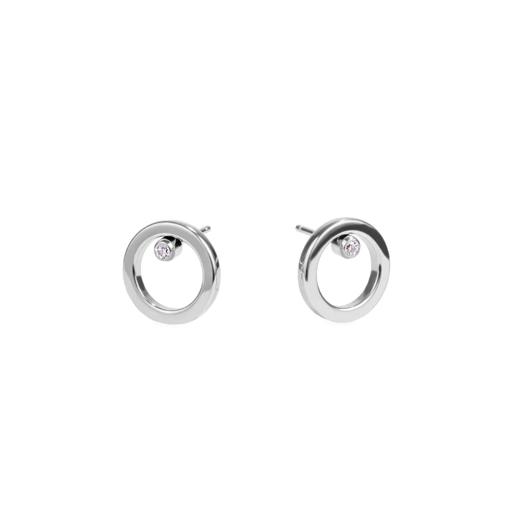 women stainless steel circle stud earrings mia jewelry boucles oreilles cercle acier inoxydable T120E012AR