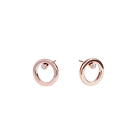 women stainless steel circle stud earrings mia jewelry boucles oreilles cercle acier inoxydable T120E012DORO