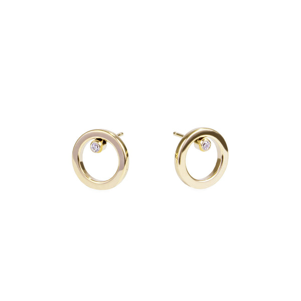 women stainless steel circle stud earrings mia jewelry boucles oreilles cercle acier inoxydable T120E012DO