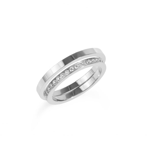 women stainless steel ring row of stones bague rang pierres acier inox femme MIA T120R001